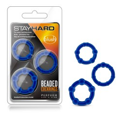 STAY HARD  BEADED COCK RINGS  BLUE