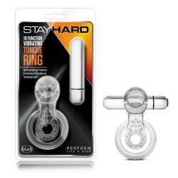 10 FUNCTION VIBRATING TONGUE RING  CLEAR