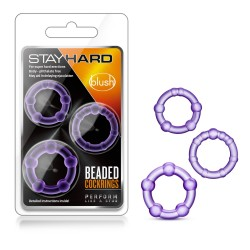 STAY HARD  BEADED COCK RINGS  PURPLE
