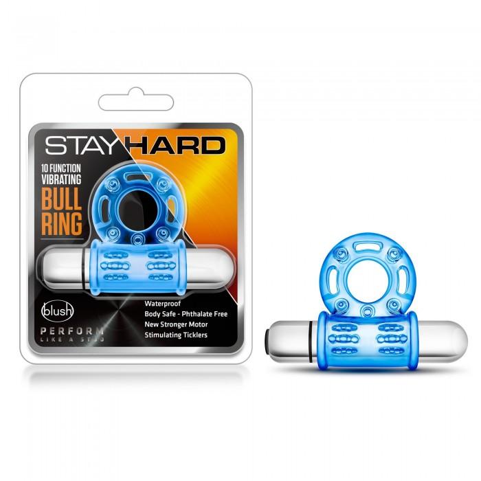 STAY HARD 10 FUNCTION VIBRATING BULL RING BLUE